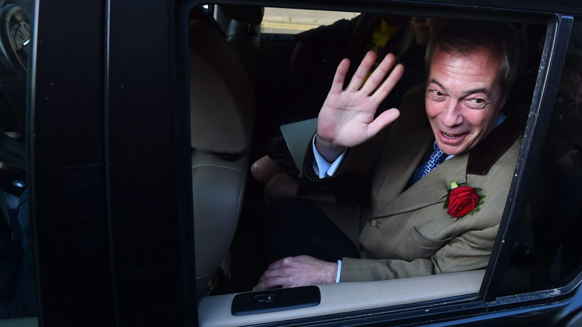 LKS 20150506 158; UK Independence Party (UKIP) leader Nigel Farage leaves after casting his vote in Ramsgate in south east England, on May 7, 2015, as Britain holds a general election. Polls opened Thursday in Britain's closest general election for decades with voters set to decide between the Conservatives of Prime Minister David Cameron, Ed Miliband's Labour and a host of smaller parties. LEHTIKUVA / AFP PHOTO / BEN STANSALL