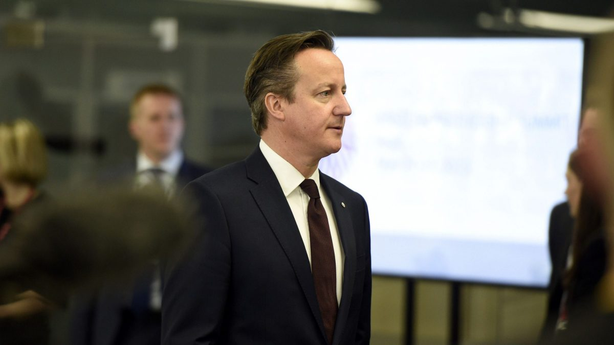 LKS 20150522 337; British prime minister David Cameron arrives for the second day of the fourth European Union (EU) eastern Partnership Summit in Riga, on May 22, 2015 as Latvia holds the rotating presidency of the EU Council. EU leaders and their counterparts from Ukraine and five ex-Soviet states hold a summit focused on bolstering their ties, an initiative that has been undermined by Russia's intervention in Ukraine. LEHTIKUVA / AFP PHOTO / ALAIN JOCARD