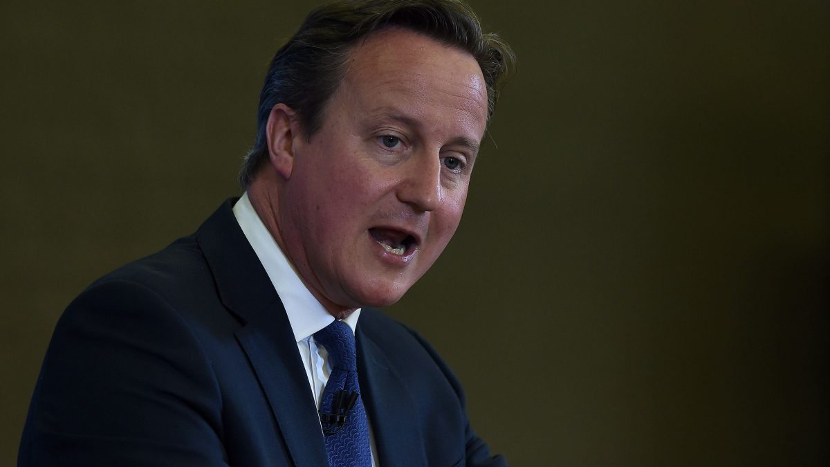 LKS 20150720 REB100; British Prime Minister David Cameron delivers a speech at Ninestiles Academy in Birmingham, central England, on July 20, 2015. Conspiracy theories of a powerful Jewish cabal or a Western plan to destroy Islam must be challenged in efforts to counter radicalisation, Cameron said. LEHTIKUVA / AFP PHOTO / POOL / PAUL ELLIS