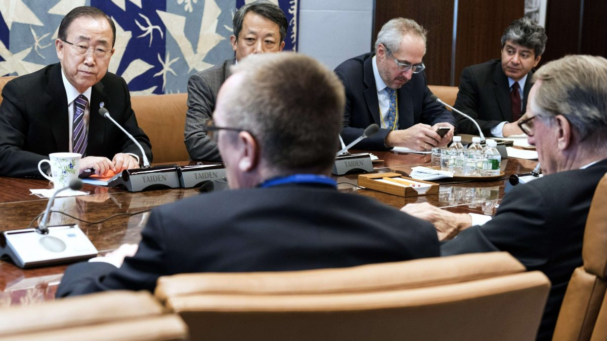 "LKS 20160106 - UNX003; In this January 6, 2016 United Nations handout photo, UN Secretary-General Ban Ki-moon (3rd-L) holds a emergency meeting with senior advisors to discuss the latest developments in North Korea. The UN Security Council met January 6 in an emergency session to condemn North Korea after it claimed to have carried out a miniaturised hydrogen bomb test -- a shock announcement that could raise the stakes in Pyongyang's bid to strengthen its nuclear arsenal. The 15-member council was considering further sanctions against Pyongyang over the nuclear test that UN chief Ban Ki-moon said was ""deeply troubling"" and ""profoundly destabilising for regional security."" LEHTIKUVA / AFP PHOTO / HANDOUT / UNITED NATIONS Instructions: RESTRICTED TO EDITORIAL USE / MANDATORY CREDIT: ""AFP PHOTO / HANDOUT / UNITED NATIONS "" / NO MARKETING / NO ADVERTISING CAMPAIGNS / DISTRIBUTED AS A SERVICE TO CLIENTS =="
