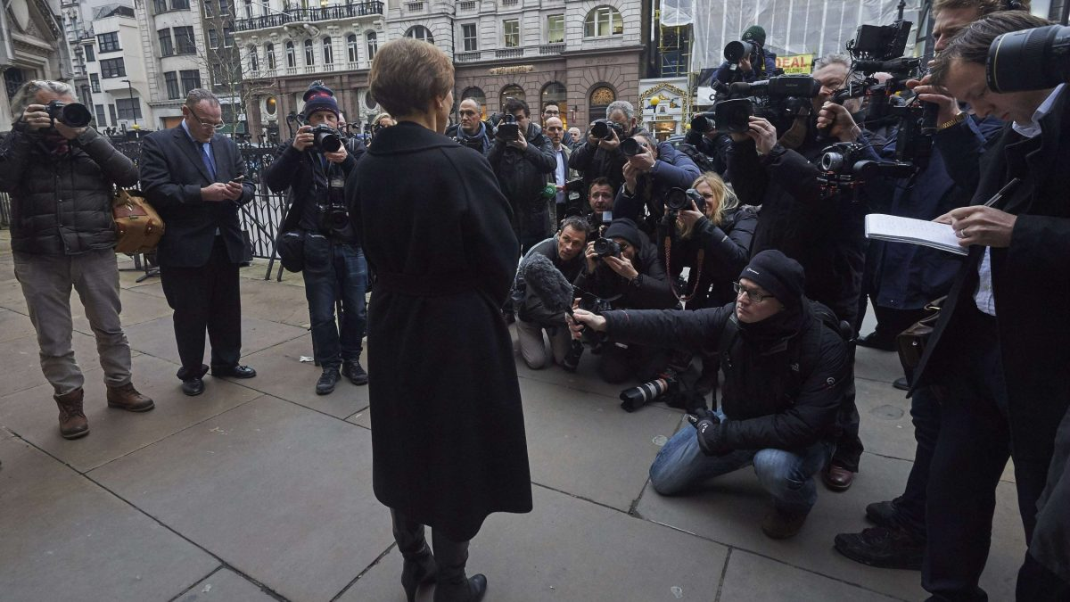 "LKS 20160121 REB5561; Marina Litvinenko (C), widow of Russian former spy Alexander Litvinenko, addresses journalists outside the Royal Courts of Justice in central London on January 21, 2016. Russian President Vladimir Putin ""probably approved"" the radiation poisoning of former KGB agent Alexander Litvinenko in London, a British judge said at the conclusion of a public inquiry into his agonising death. Litvinenko was allegedly poisoned at a hotel by a cup of tea laced with polonium-210 -- an extremely expensive radioactive isotope only available in closed nuclear facilities -- in a sequence of events which could have come from a Cold War thriller. LEHTIKUVA / AFP PHOTO / NIKLAS HALLE'N"