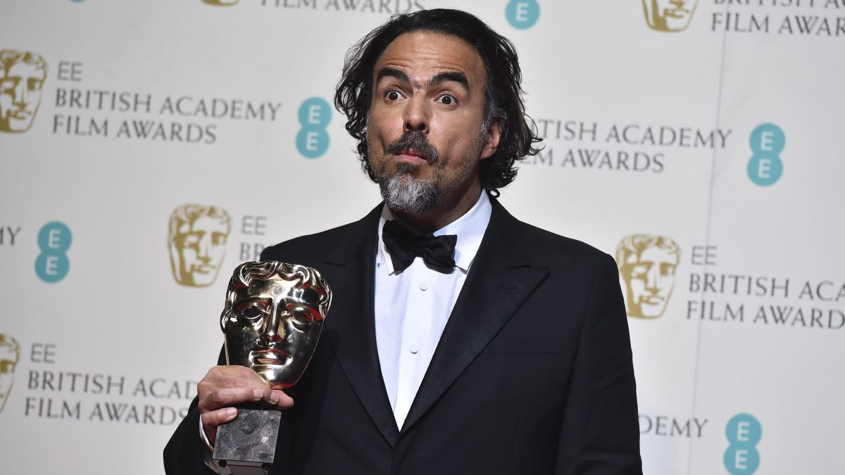 LKS 20160215 136; Mexican director Alejandro Gonzalez Inarritu poses with the award for a director for the film 'The Revenant'  which won the award for best film at the BAFTA British Academy Film Awards at the Royal Opera House in London on February 14, 2016. LEHTIKUVA / AFP / BEN STANSALL
