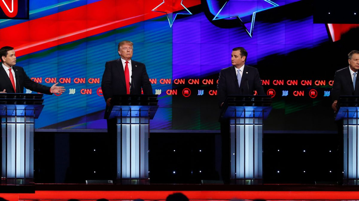 LKS 20160311 MIA19; Republican Presidential candidates (L-R) Marco Rubio, Donald Trump, Ted Cruz and John Kasich participate in the CNN Presidential Debate March 10, 2016 in Miami. / AFP / RHONA WISE - LEHTIKUVA / AFP
