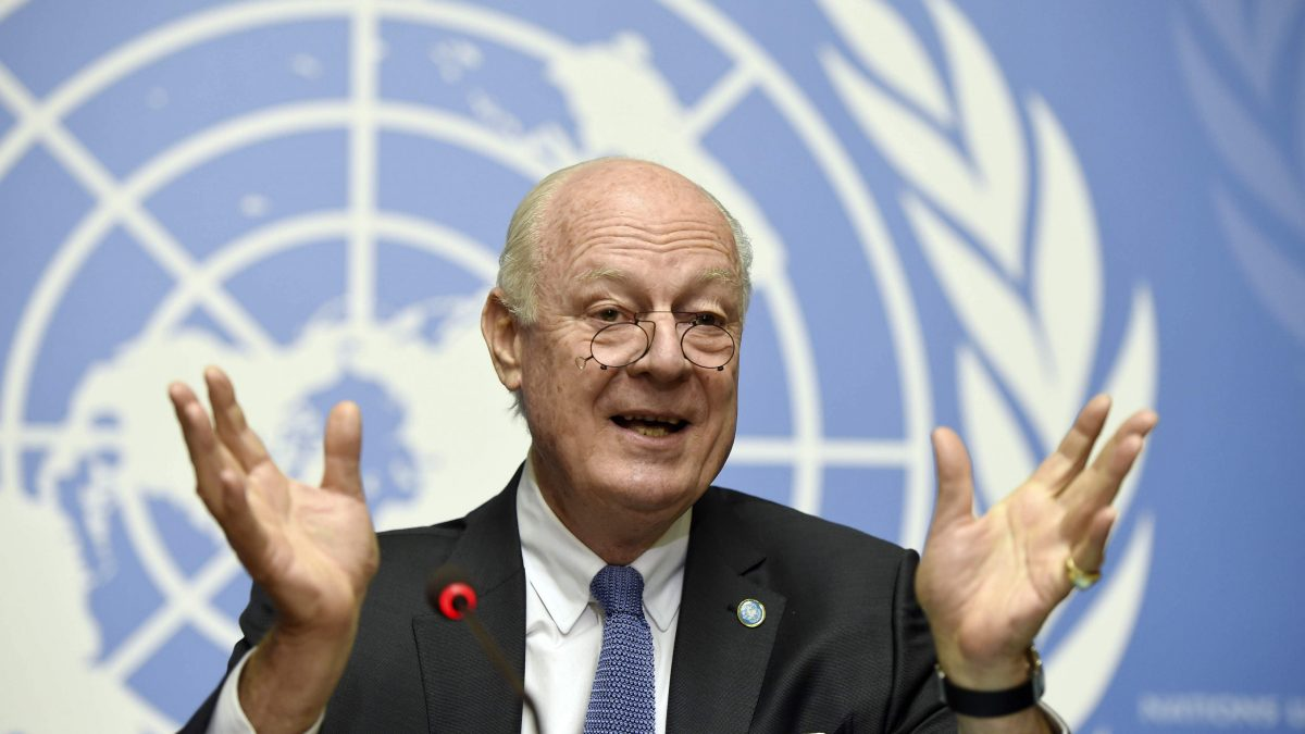LKS 20160314  079; UN Syria envoy Staffan de Mistura speaks during a press conference in the first day of the second round of Syrian peace talks at the UN headquarter in Geneva on March 14, 2016. / AFP / PHILIPPE DESMAZES - LEHTIKUVA / AFP