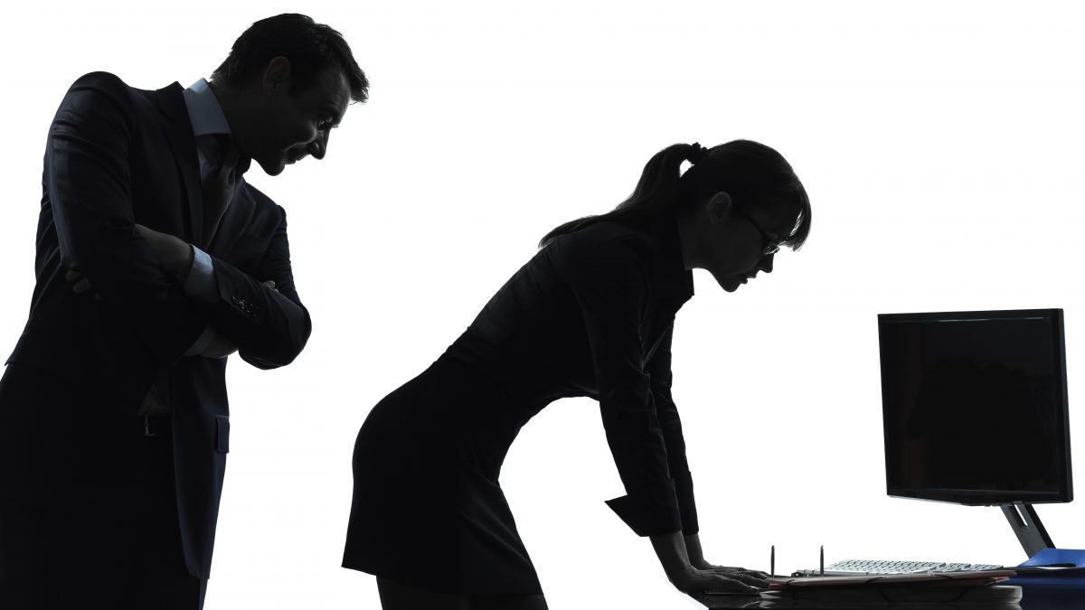 business woman man couple sexual harassment silhouette