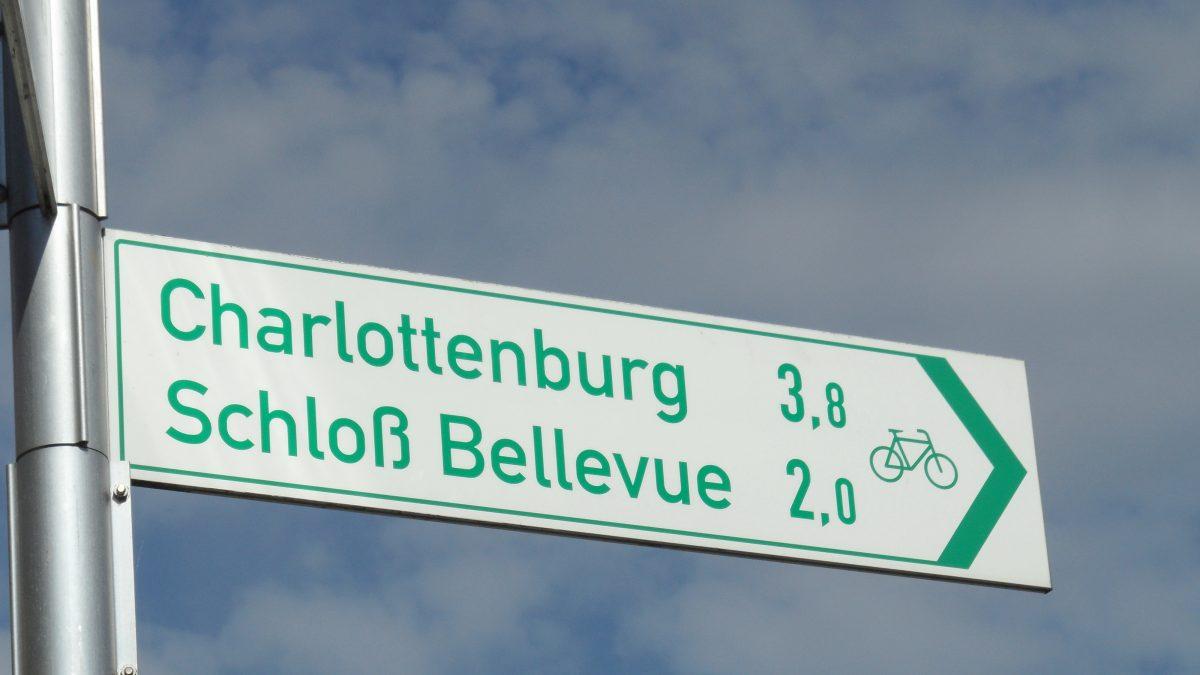 direction sign of a bicycle lane in Berlin
