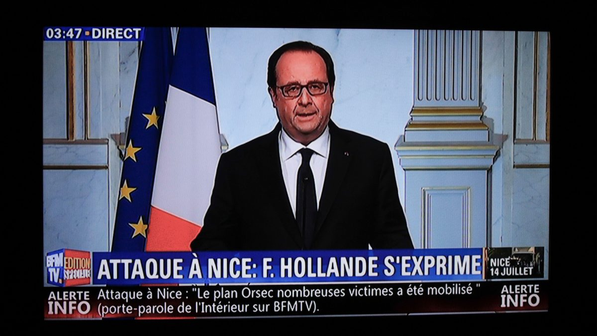 "LKS 20160715 This still image from a BFM TV telecast shows French President Francois Hollande speaking about the attack in Nice on July 14, 2016 in Elysee, Paris. A truck ploughed into a crowd in the French Riviera resort of Nice, killing at least 77 and injuring scores in what President Francois Hollande Friday called a ""terrorist"" attack on revellers watching a Bastille Day fireworks display. / AFP / BFM TV / GEOFFROY VAN DER HASSELT - LEHTIKUVA / AFP"