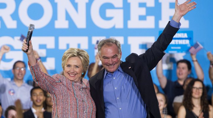 LKS 20160723 SAL003; (FILES) This file photo taken on July 14, 2016 shows US Democratic Presidential candidate Hillary Clinton and US Senator Tim Kaine, Democrat of Virginia, waving during a campaign rally at Ernst Community Cultural Center in Annandale, Virginia. Clinton picks Senator Tim Kaine for Vice President.  / AFP / SAUL LOEB - LEHTIKUVA / AFP