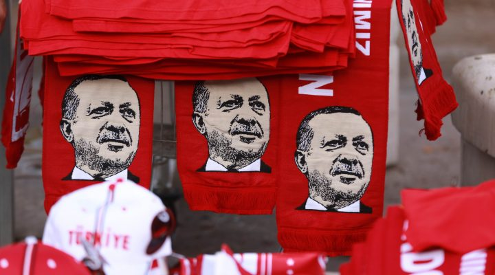 LKS 20160726 2179; This picture taken on July 25, 2016, shows scarves with the effigy of Turkish President Recep Tayyip Erdogan a rally against the military coup in Ankara. Turkish authorities on July 25 issued arrest warrants for over 40 journalists in a new phase of the controversial legal crackdown after the failed coup against President Recep Tayyip Erdogan, sparking fresh alarm over the scope of the detentions. / AFP / ADEM ALTAN - LEHTIKUVA / AFP