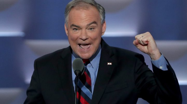 LKS 20160728 PHILADELPHIA, PA - JULY 27: US Vice President nominee Tim Kaine delivers remarks on the third day of the Democratic National Convention at the Wells Fargo Center, July 27, 2016 in Philadelphia, Pennsylvania. Democratic presidential candidate Hillary Clinton received the number of votes needed to secure the party's nomination. An estimated 50,000 people are expected in Philadelphia, including hundreds of protesters and members of the media. The four-day Democratic National Convention kicked off July 25. LEHTIKUVA / Alex Wong / Getty Images / AFP