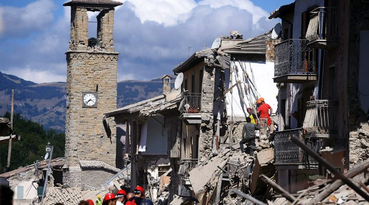 LKS 20160824 FM7100; Firemen and rescuers inspect damaged buildings in Amatrice on August 24, 2016 after a powerful earthquake rocked central Italy. The earthquake left 38 people dead and the total is likely to rise, the country's civil protection unit said in the first official death toll. Scores of buildings were reduced to dusty piles of masonry in communities close to the epicentre of the pre-dawn quake in a remote area straddling the regions of Umbria, Marche and Lazio. / AFP / FILIPPO MONTEFORTE - LEHTIKUVA / AFP