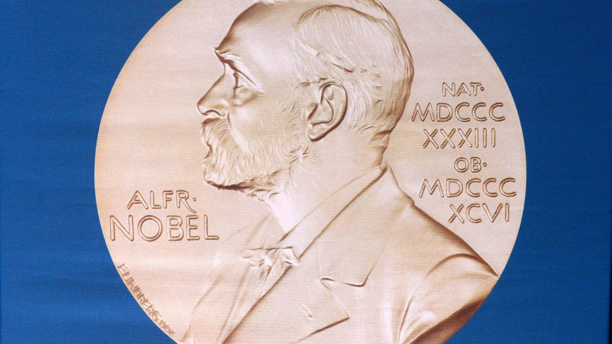 LKS 20161010 6062; (FILES) This file photo taken on October 05, 2015 shows The laureate medal featuring the portrait of Alfred Nobel at the Karolinska Institutet in Stockholm, Sweden. Swedish inventor and scholar Alfred Nobel, who made a vast fortune from his invention of dynamite in 1866, ordered the creation of the famous Nobel prizes in his will. / AFP / JONATHAN NACKSTRAND - LEHTIKUVA / AFP