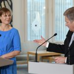 LKS 20161020 - Estonian president Kersti Kaljulaid (L) listens while her Finnish counterpart Sauli Niinistö speaks during their joint press conference at the Presidential residence Mäntyniemi in Helsinki, Finland, on October 20, 2016. This is the first overseas visit made by President Kaljulaid during her term in office and is the first meeting between the presidents. LEHTIKUVA / JUSSI NUKARI