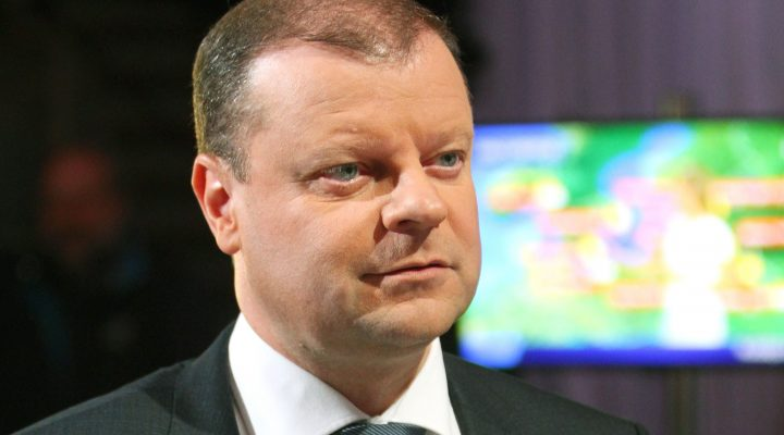 "LKS 20161024 This file photo taken on September 29, 2016 shows Saulius Skvernelis of the Lithuanian Peasant and Green's Union (LPGU) party looking on before a debate aired on national TV in Vilnius. A Lithuanian farmers' party, Lithuanian Peasants and Green Union party (LGPU), that previously held only a single seat in parliament scored a surprise victory in general election run-off on October 23, 2016, ousting the governing leftists and trouncing conservative rivals. ""We will forge a rational coalition government and we'll chose people who want to bring about changes,"" Saulius Skvernelis, a popular former national police chief who ran as the LPGU's candidate for prime minister told national TV as the results rolled in. / AFP / Petras Malukas - LEHTIKUVA / AFP"